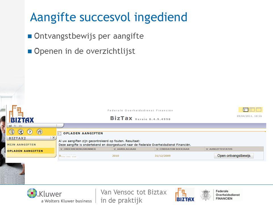 Van Vensoc tot Biztax in de praktijk Aangifte succesvol ingediend Ontvangstbewijs per aangifte Openen in de overzichtlijst