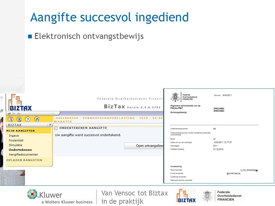 Van Vensoc tot Biztax in de praktijk Aangifte succesvol ingediend Elektronisch ontvangstbewijs