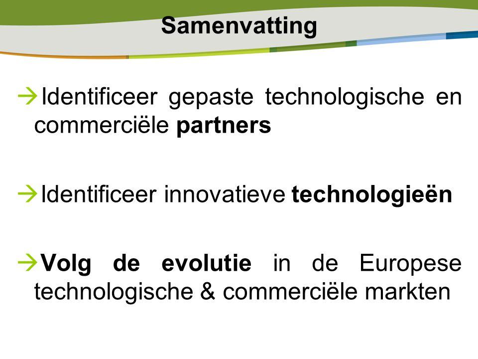 Samenvatting  Identificeer gepaste technologische en commerciële partners  Identificeer innovatieve technologieën  Volg de evolutie in de Europese