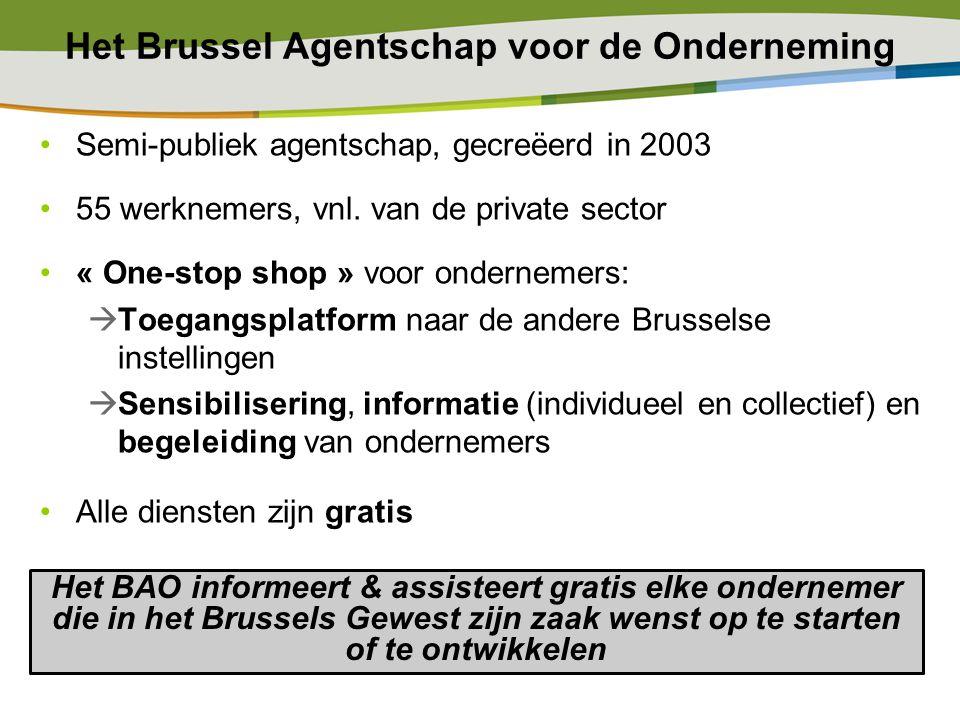 Het Brussel Agentschap voor de Onderneming Semi-publiek agentschap, gecreëerd in 2003 55 werknemers, vnl. van de private sector « One-stop shop » voor