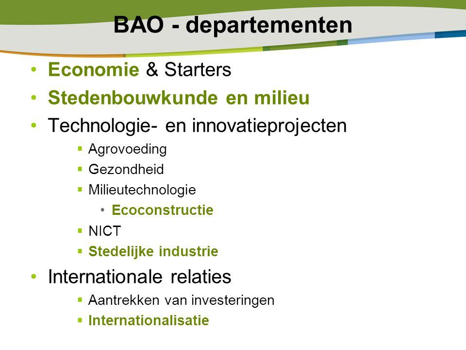 BAO - departementen Economie & Starters Stedenbouwkunde en milieu Technologie- en innovatieprojecten  Agrovoeding  Gezondheid  Milieutechnologie Ec