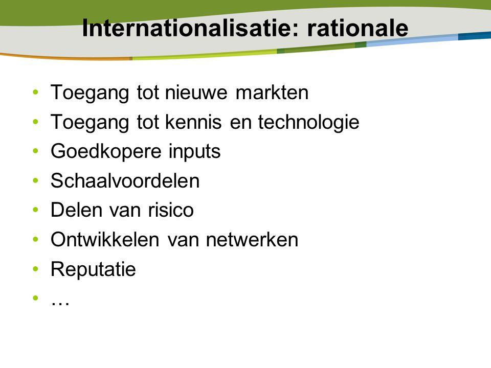 Internationalisatie: rationale Toegang tot nieuwe markten Toegang tot kennis en technologie Goedkopere inputs Schaalvoordelen Delen van risico Ontwikk
