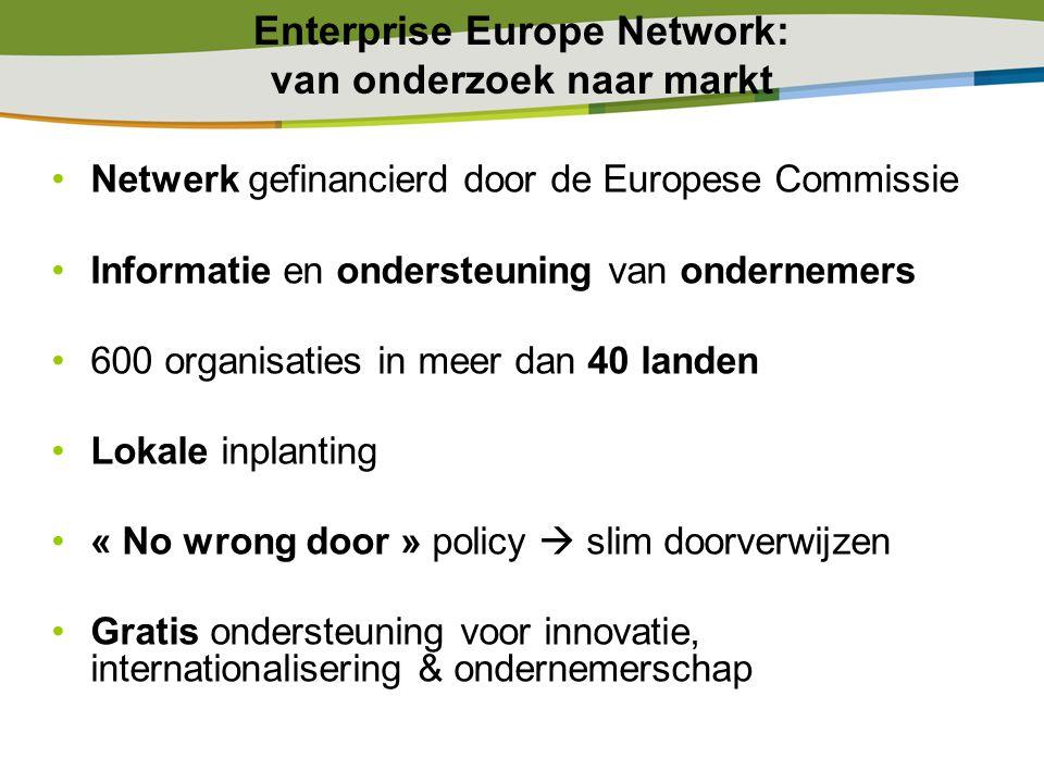 Enterprise Europe Network: van onderzoek naar markt Netwerk gefinancierd door de Europese Commissie Informatie en ondersteuning van ondernemers 600 or