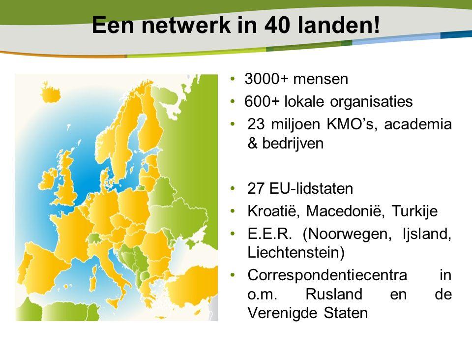 3000+ mensen 600+ lokale organisaties 23 miljoen KMO's, academia & bedrijven 27 EU-lidstaten Kroatië, Macedonië, Turkije E.E.R. (Noorwegen, Ijsland, L