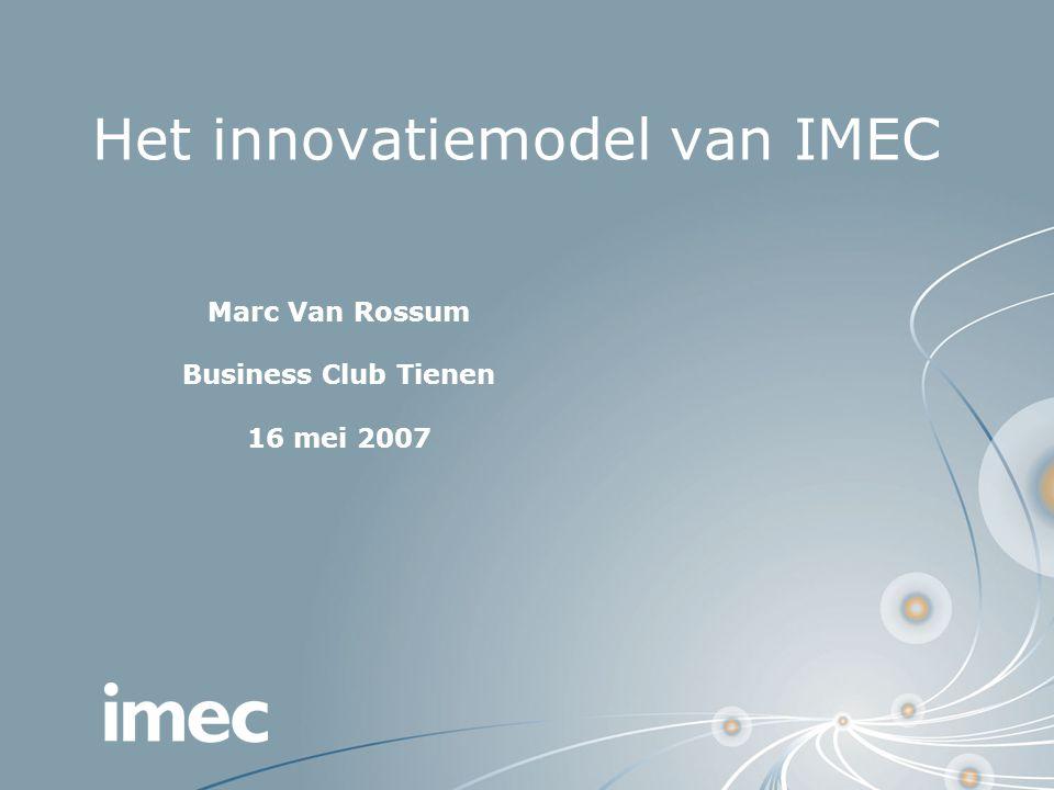 Het innovatiemodel van IMEC Marc Van Rossum Business Club Tienen 16 mei 2007