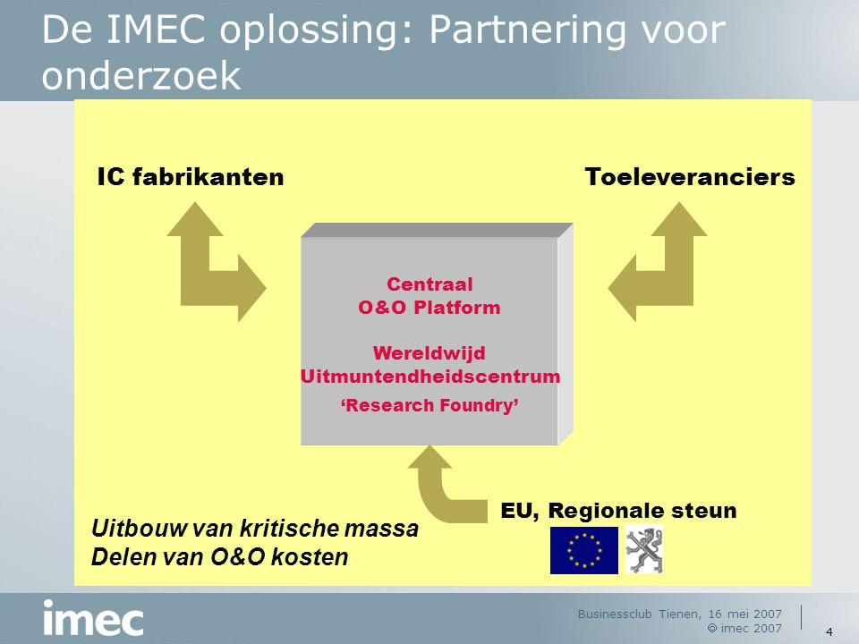 Businessclub Tienen, 16 mei 2007  imec 2007 4 De IMEC oplossing: Partnering voor onderzoek ToeleveranciersIC fabrikanten Uitbouw van kritische massa Delen van O&O kosten Centraal O&O Platform Wereldwijd Uitmuntendheidscentrum 'Research Foundry' EU, Regionale steun