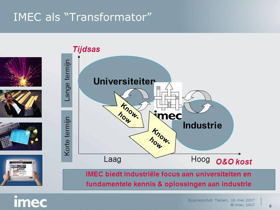 Businessclub Tienen, 16 mei 2007  imec 2007 8 IMEC als Transformator Tijdsas Lange termijn Korte termijn LaagHoog O&O kost Universiteiten Industrie IMEC biedt industriële focus aan universiteiten en fundamentele kennis & oplossingen aan industrie Know- how Know- how