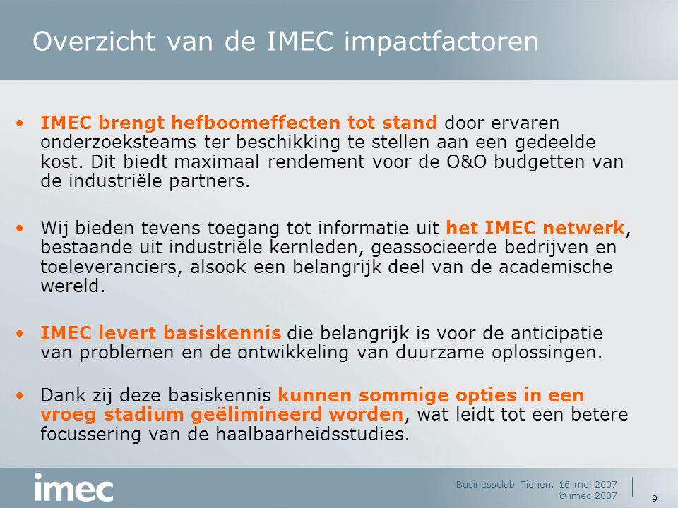Businessclub Tienen, 16 mei 2007  imec 2007 9 Overzicht van de IMEC impactfactoren IMEC brengt hefboomeffecten tot stand door ervaren onderzoeksteams ter beschikking te stellen aan een gedeelde kost.