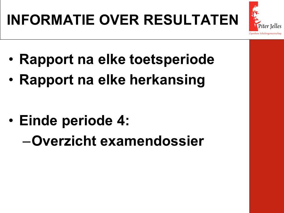 Rapport na elke toetsperiode Rapport na elke herkansing Einde periode 4: –Overzicht examendossier INFORMATIE OVER RESULTATEN