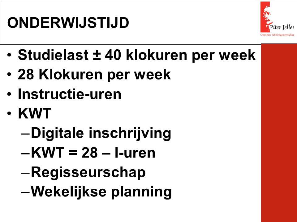 Studielast ± 40 klokuren per week 28 Klokuren per week Instructie-uren KWT –Digitale inschrijving –KWT = 28 – I-uren –Regisseurschap –Wekelijkse plann