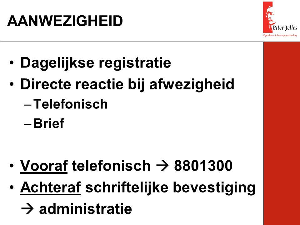 Dagelijkse registratie Directe reactie bij afwezigheid –Telefonisch –Brief Vooraf telefonisch  8801300 Achteraf schriftelijke bevestiging  administr