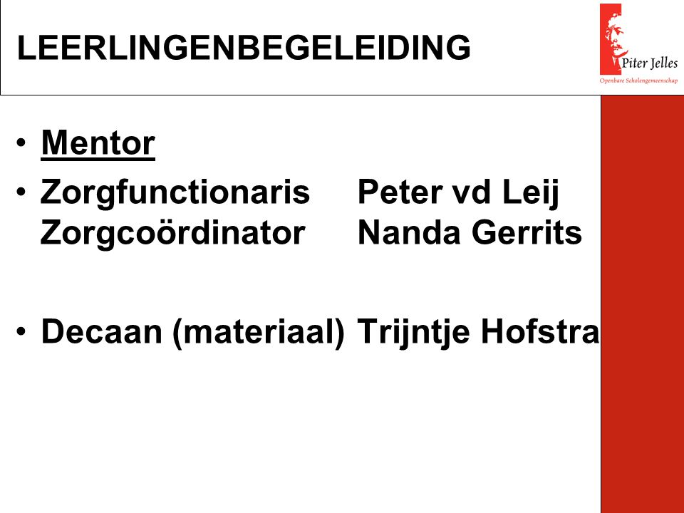 Mentor ZorgfunctionarisPeter vd Leij ZorgcoördinatorNanda Gerrits Decaan (materiaal)Trijntje Hofstra LEERLINGENBEGELEIDING