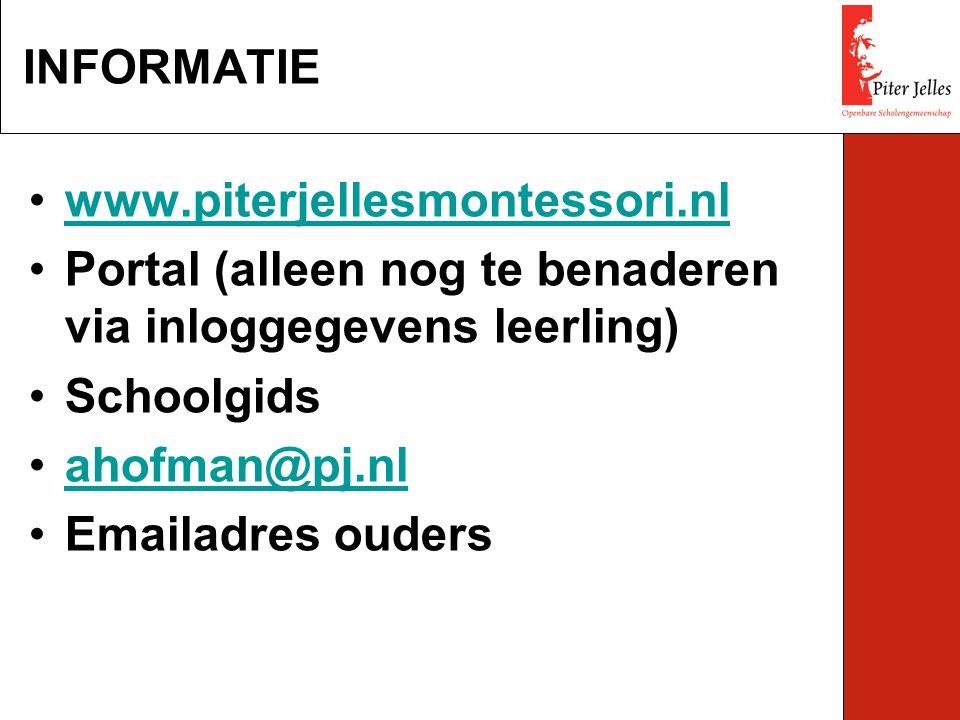 www.piterjellesmontessori.nl Portal (alleen nog te benaderen via inloggegevens leerling) Schoolgids ahofman@pj.nl Emailadres ouders INFORMATIE