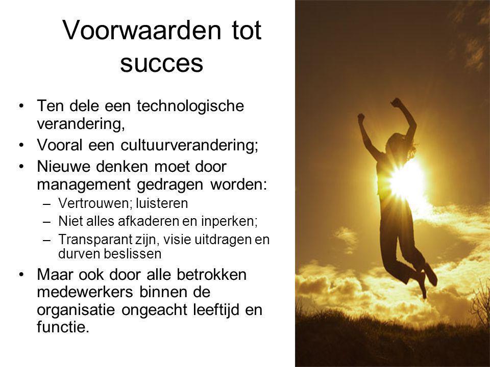 Voorwaarden tot succes Ten dele een technologische verandering, Vooral een cultuurverandering; Nieuwe denken moet door management gedragen worden: –Ve