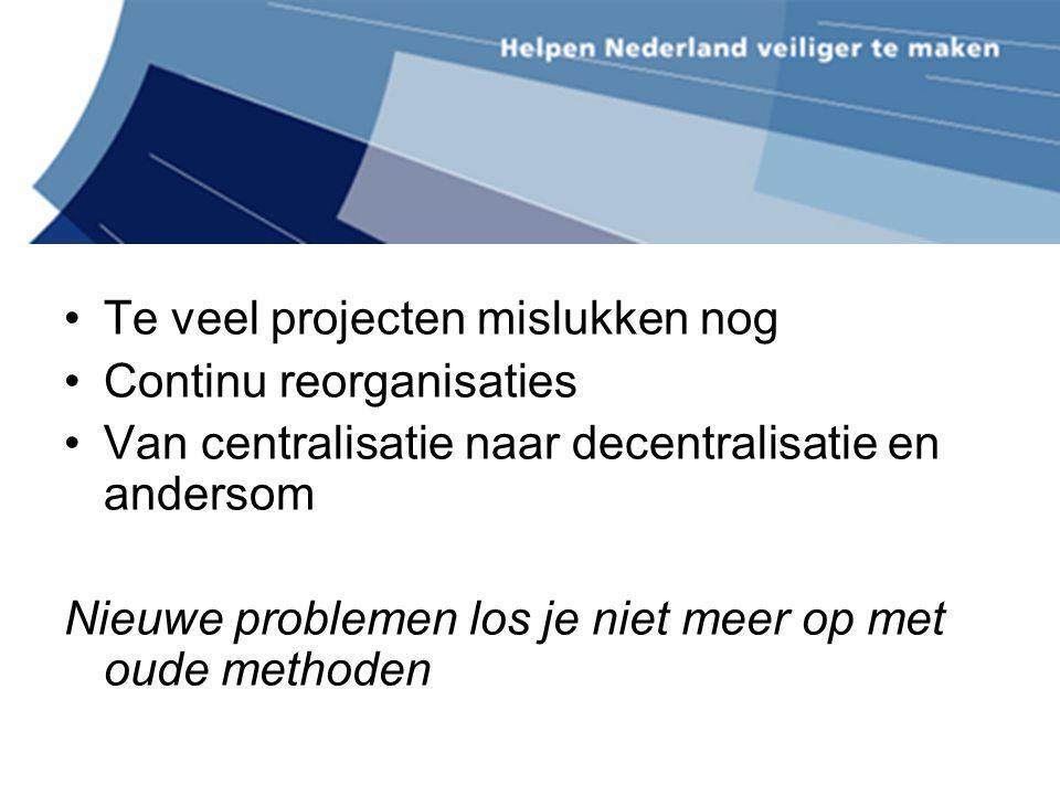 Te veel projecten mislukken nog Continu reorganisaties Van centralisatie naar decentralisatie en andersom Nieuwe problemen los je niet meer op met oud