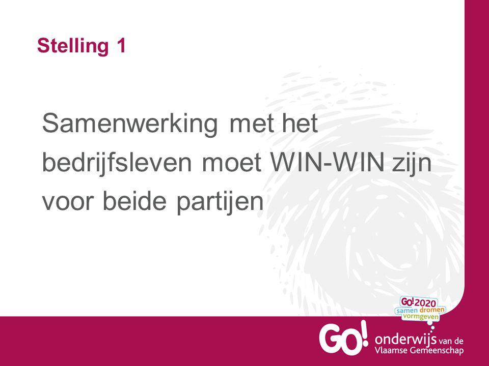Stelling 1 Samenwerking met het bedrijfsleven moet WIN-WIN zijn voor beide partijen