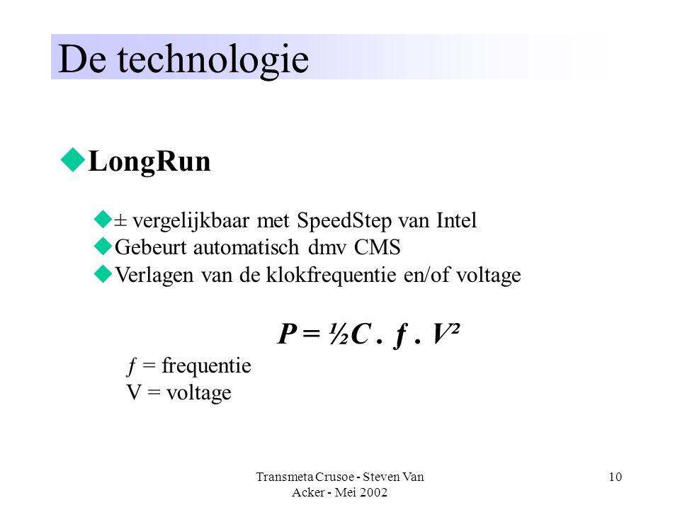 Transmeta Crusoe - Steven Van Acker - Mei 2002 10 De technologie  LongRun  ± vergelijkbaar met SpeedStep van Intel  Gebeurt automatisch dmv CMS  V