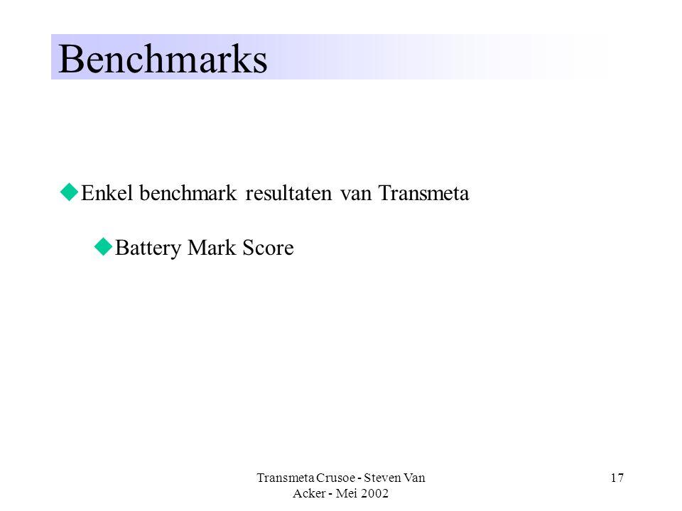 Transmeta Crusoe - Steven Van Acker - Mei 2002 17 Benchmarks  Enkel benchmark resultaten van Transmeta  Battery Mark Score