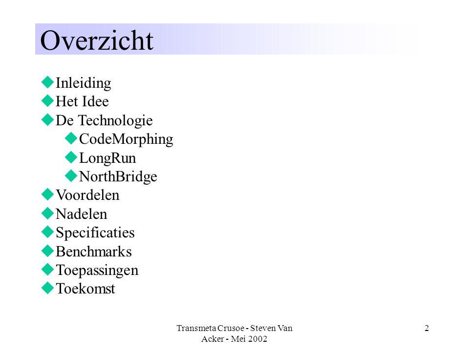 Transmeta Crusoe - Steven Van Acker - Mei 2002 2 Overzicht  Inleiding  Het Idee  De Technologie  CodeMorphing  LongRun  NorthBridge  Voordelen