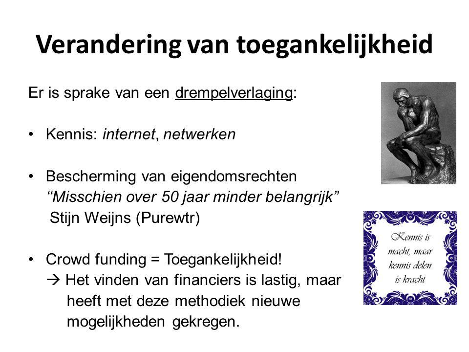 Verandering van toegankelijkheid Er is sprake van een drempelverlaging: Kennis: internet, netwerken Bescherming van eigendomsrechten ''Misschien over