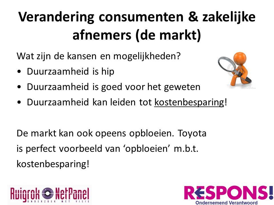 Verandering consumenten & zakelijke afnemers (de markt) Wat zijn de kansen en mogelijkheden? Duurzaamheid is hip Duurzaamheid is goed voor het geweten