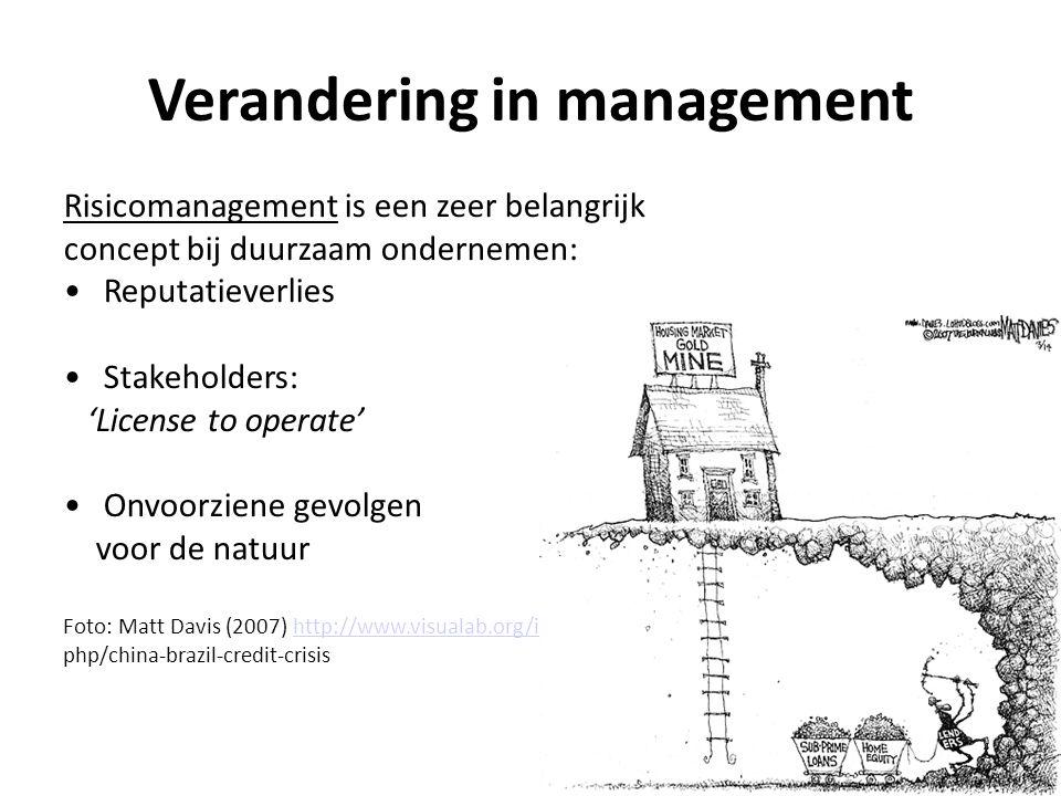 Verandering in management Risicomanagement is een zeer belangrijk concept bij duurzaam ondernemen: Reputatieverlies Stakeholders: 'License to operate'