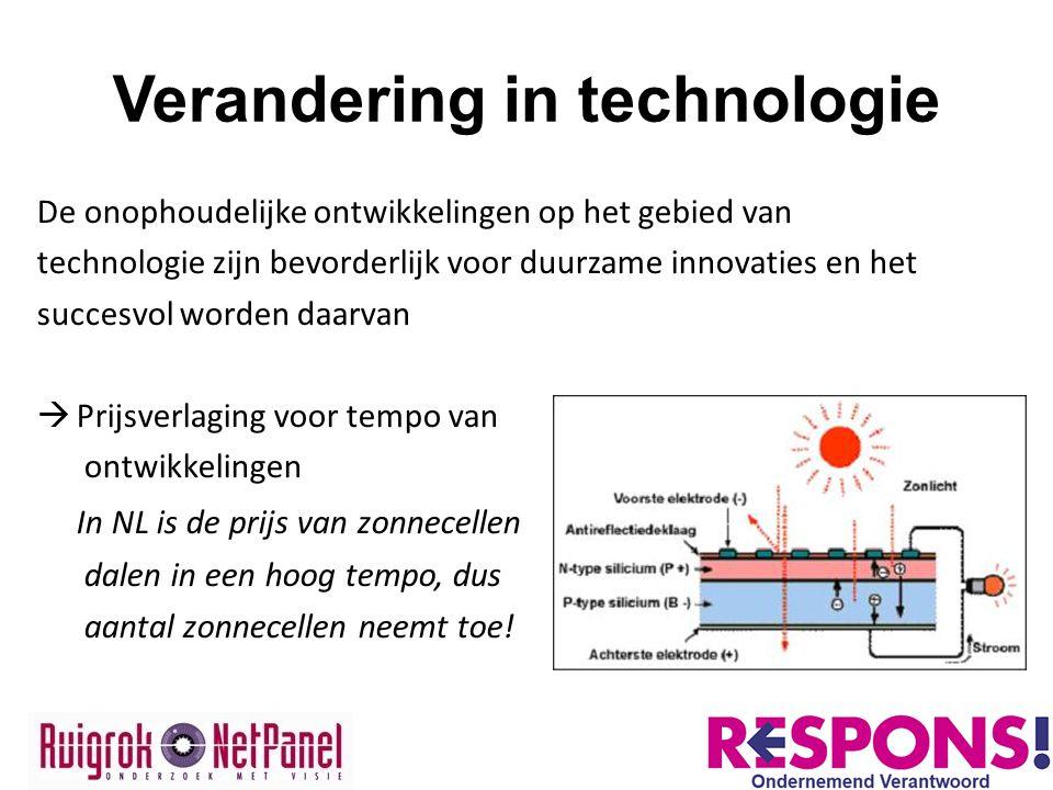 Verandering in technologie De onophoudelijke ontwikkelingen op het gebied van technologie zijn bevorderlijk voor duurzame innovaties en het succesvol