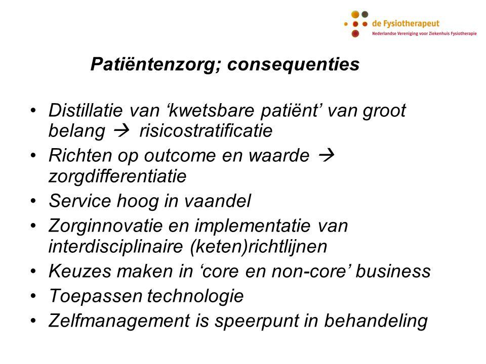 Patiëntenzorg; consequenties Distillatie van 'kwetsbare patiënt' van groot belang  risicostratificatie Richten op outcome en waarde  zorgdifferentia