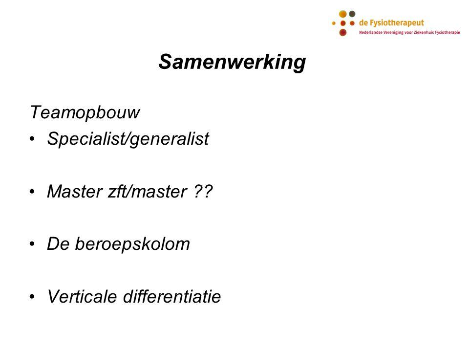 Samenwerking Teamopbouw Specialist/generalist Master zft/master ?? De beroepskolom Verticale differentiatie