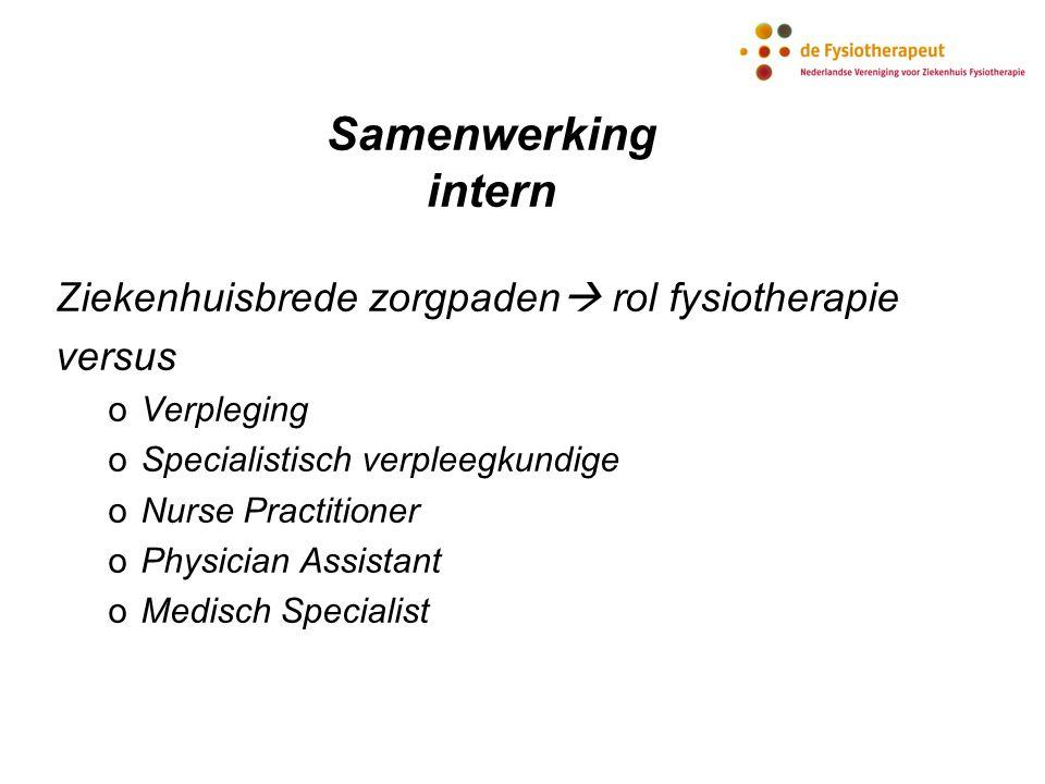 Samenwerking intern Ziekenhuisbrede zorgpaden  rol fysiotherapie versus oVerpleging oSpecialistisch verpleegkundige oNurse Practitioner oPhysician As