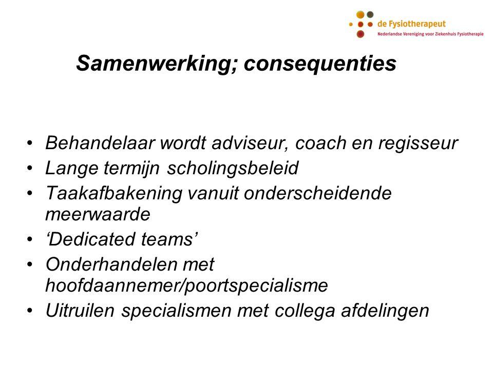 Samenwerking; consequenties Behandelaar wordt adviseur, coach en regisseur Lange termijn scholingsbeleid Taakafbakening vanuit onderscheidende meerwaa