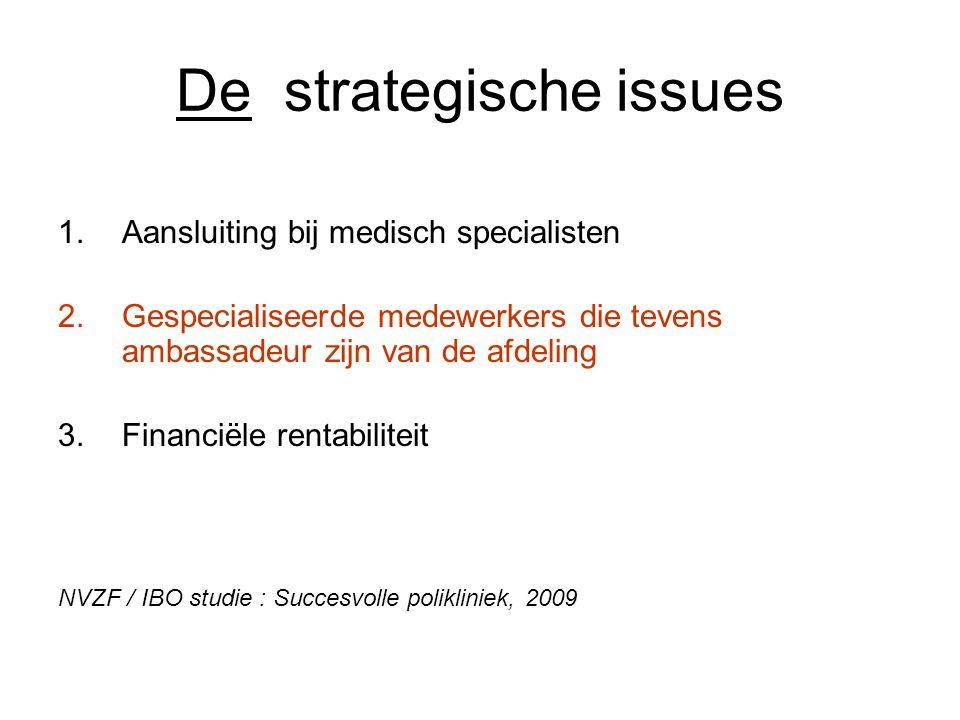 De strategische issues 1.Aansluiting bij medisch specialisten 2.Gespecialiseerde medewerkers die tevens ambassadeur zijn van de afdeling 3.Financiële