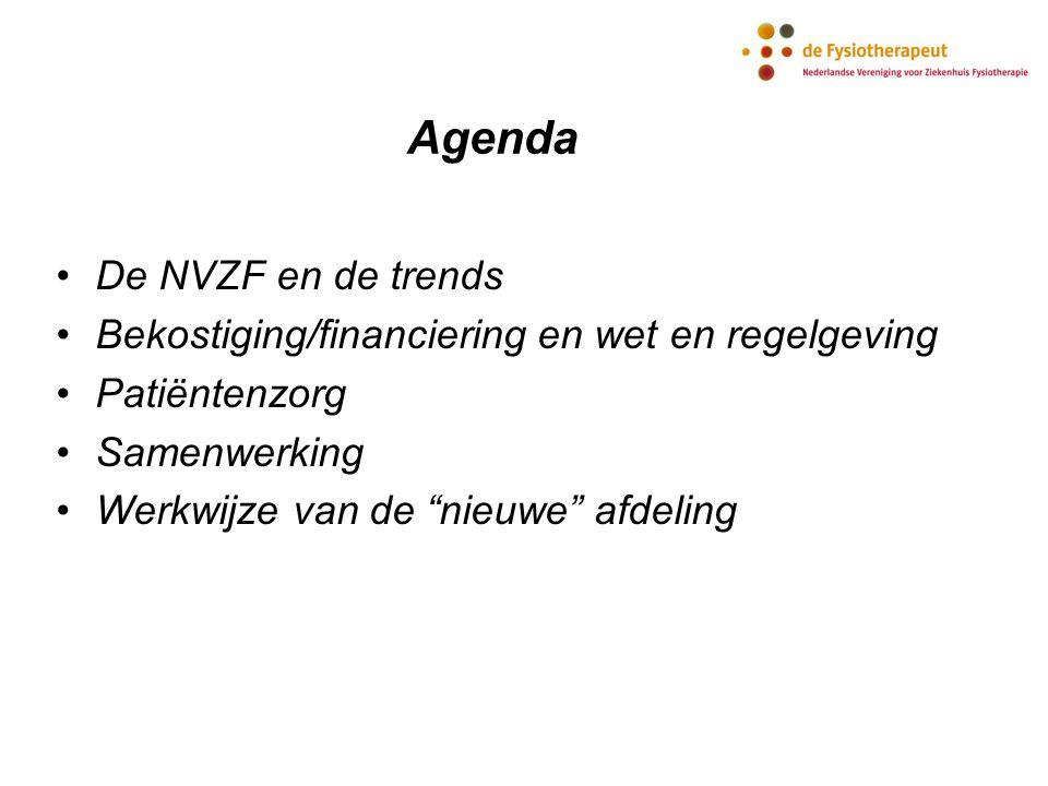 """Agenda De NVZF en de trends Bekostiging/financiering en wet en regelgeving Patiëntenzorg Samenwerking Werkwijze van de """"nieuwe"""" afdeling"""