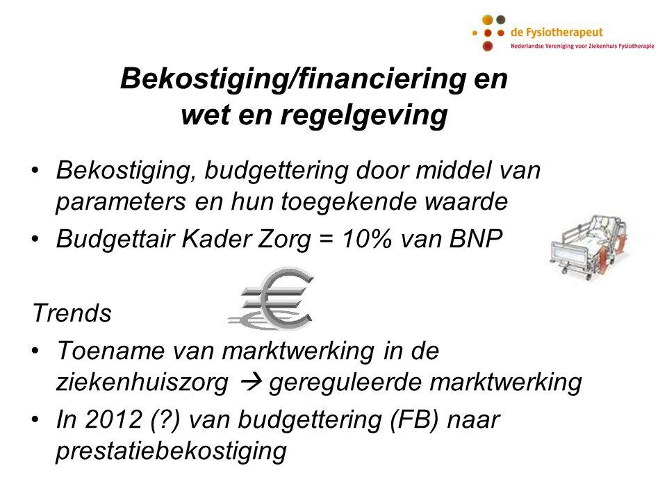 Bekostiging/financiering en wet en regelgeving Bekostiging, budgettering door middel van parameters en hun toegekende waarde Budgettair Kader Zorg = 1