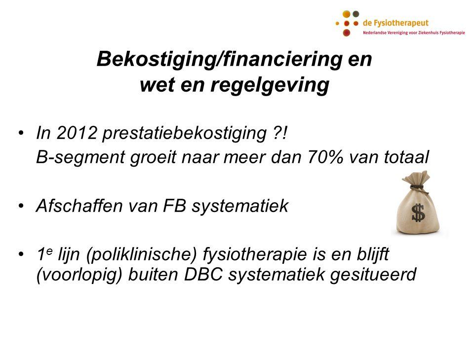 In 2012 prestatiebekostiging ?! B-segment groeit naar meer dan 70% van totaal Afschaffen van FB systematiek 1 e lijn (poliklinische) fysiotherapie is