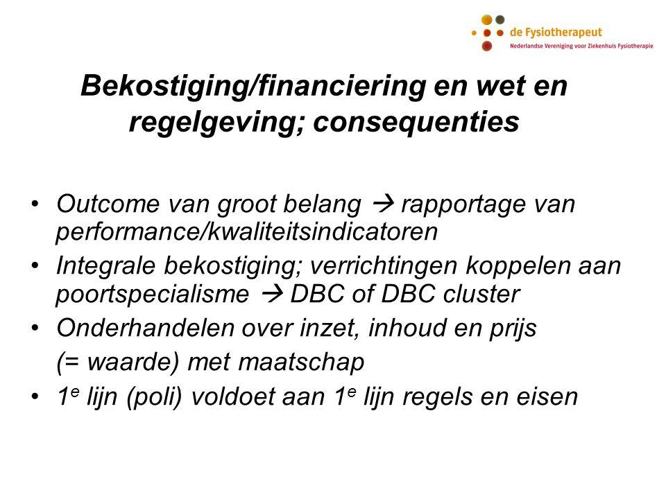 Bekostiging/financiering en wet en regelgeving; consequenties Outcome van groot belang  rapportage van performance/kwaliteitsindicatoren Integrale be