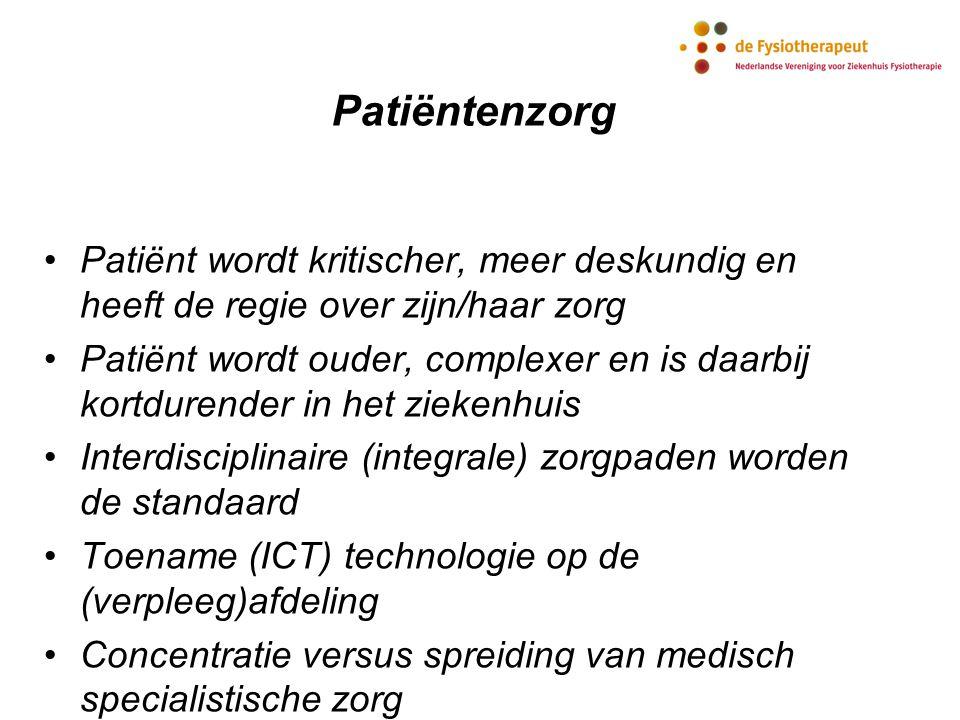 Patiëntenzorg Patiënt wordt kritischer, meer deskundig en heeft de regie over zijn/haar zorg Patiënt wordt ouder, complexer en is daarbij kortdurender