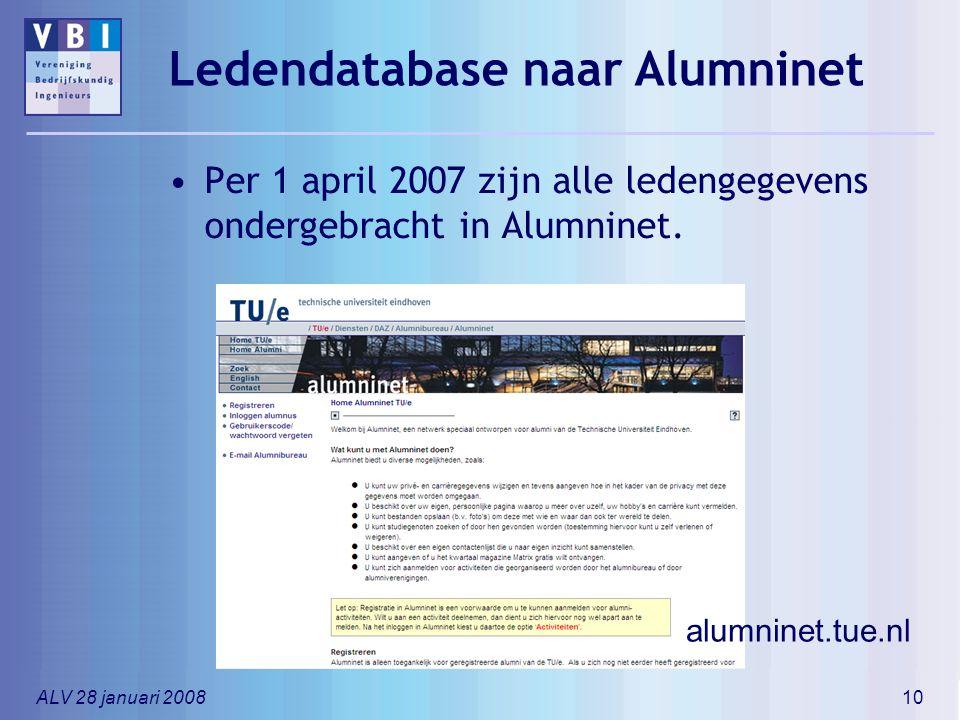 ALV 28 januari 200810 Ledendatabase naar Alumninet Per 1 april 2007 zijn alle ledengegevens ondergebracht in Alumninet. alumninet.tue.nl