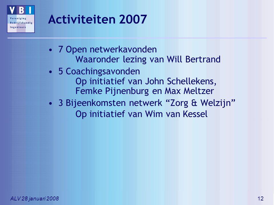 ALV 28 januari 200812 Activiteiten 2007 7 Open netwerkavonden Waaronder lezing van Will Bertrand 5 Coachingsavonden Op initiatief van John Schellekens