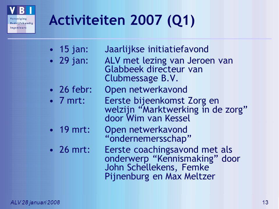 ALV 28 januari 200813 Activiteiten 2007 (Q1) 15 jan: Jaarlijkse initiatiefavond 29 jan: ALV met lezing van Jeroen van Glabbeek directeur van Clubmessa