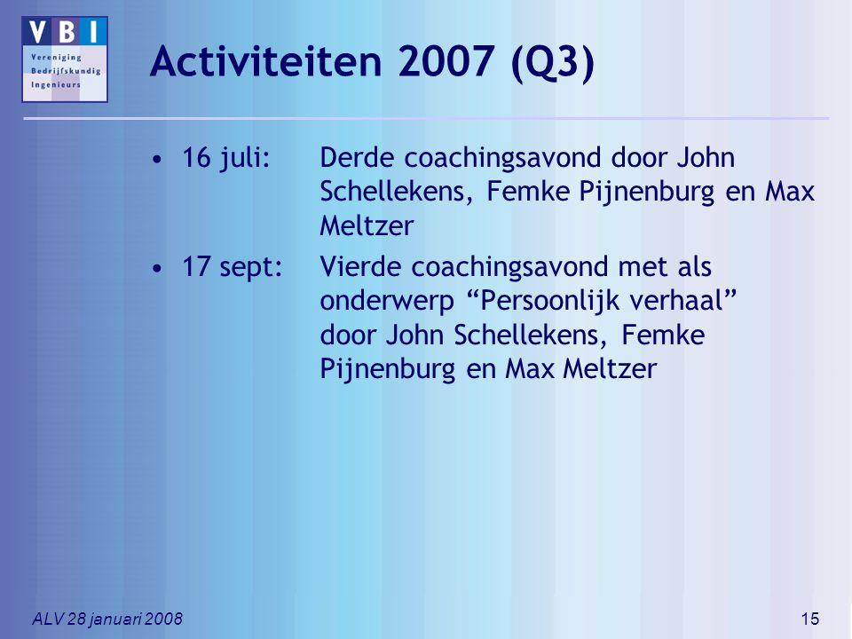 ALV 28 januari 200815 Activiteiten 2007 (Q3) 16 juli:Derde coachingsavond door John Schellekens, Femke Pijnenburg en Max Meltzer 17 sept:Vierde coachi