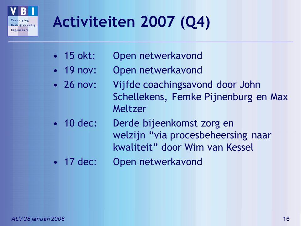ALV 28 januari 200816 Activiteiten 2007 (Q4) 15 okt: Open netwerkavond 19 nov: Open netwerkavond 26 nov:Vijfde coachingsavond door John Schellekens, F