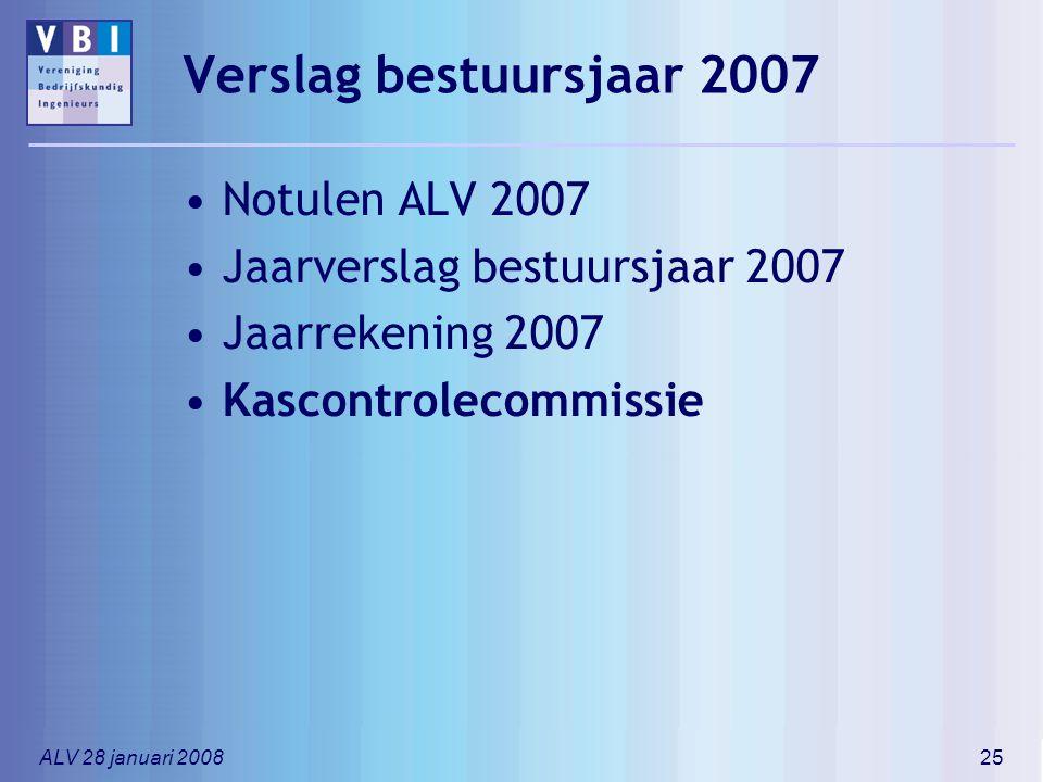 ALV 28 januari 200825 Verslag bestuursjaar 2007 Notulen ALV 2007 Jaarverslag bestuursjaar 2007 Jaarrekening 2007 Kascontrolecommissie