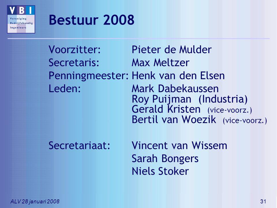 ALV 28 januari 200831 Bestuur 2008 Voorzitter:Pieter de Mulder Secretaris:Max Meltzer Penningmeester:Henk van den Elsen Leden:Mark Dabekaussen Roy Pui