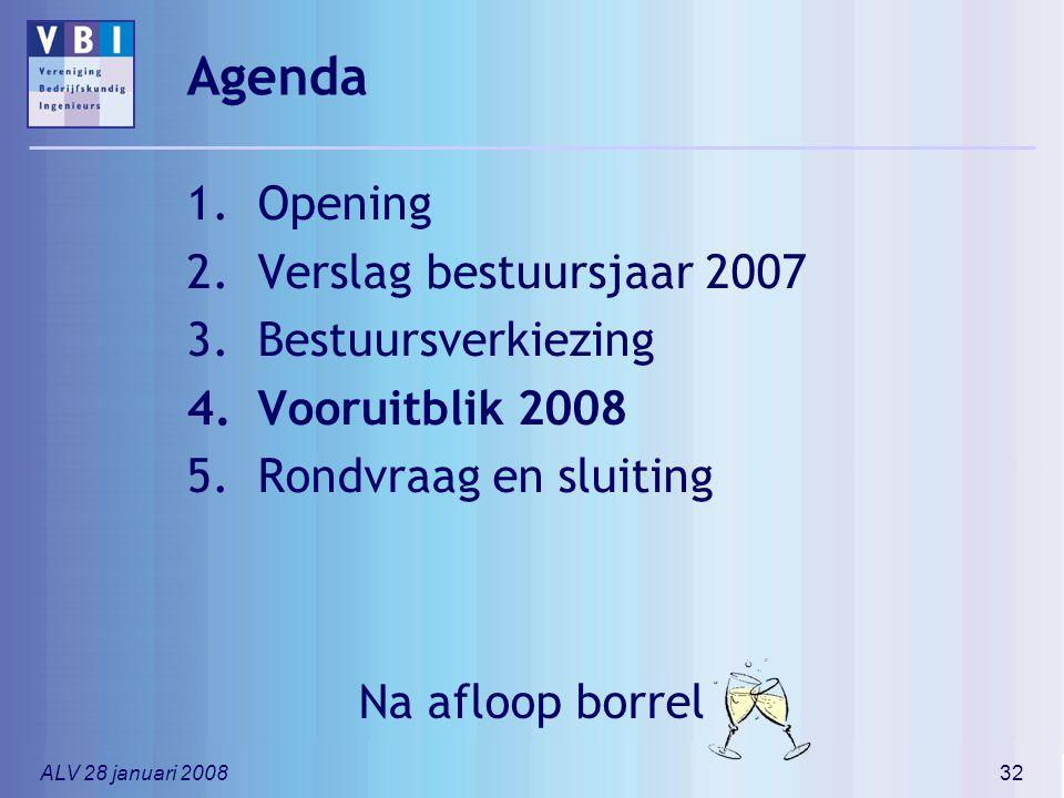 ALV 28 januari 200832 Agenda 1.Opening 2.Verslag bestuursjaar 2007 3.Bestuursverkiezing 4.Vooruitblik 2008 5.Rondvraag en sluiting Na afloop borrel