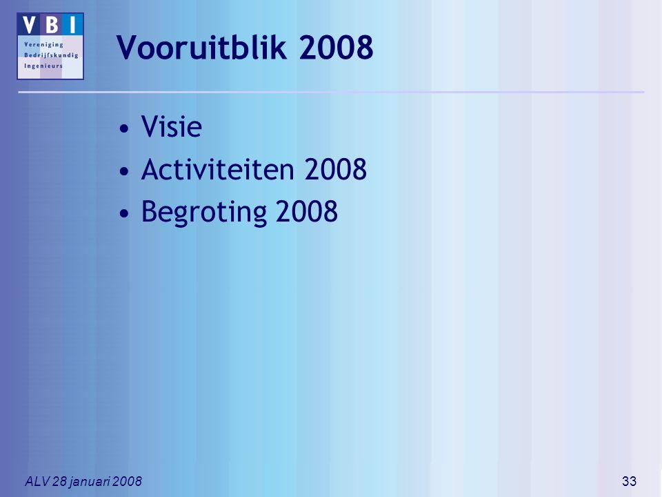 ALV 28 januari 200833 Vooruitblik 2008 Visie Activiteiten 2008 Begroting 2008