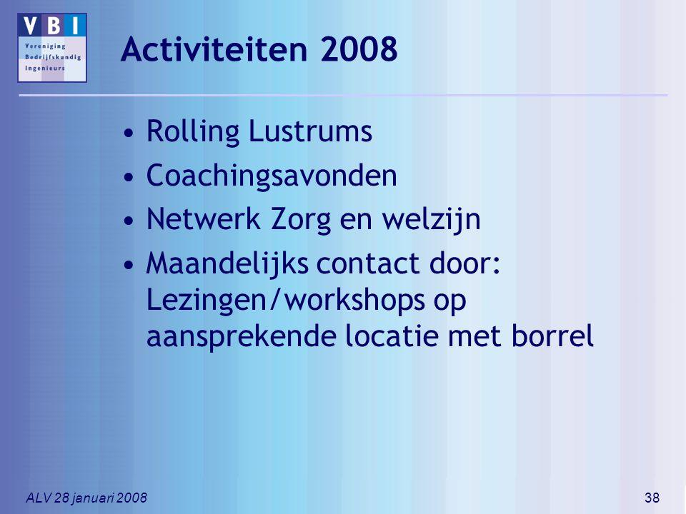 ALV 28 januari 200838 Activiteiten 2008 Rolling Lustrums Coachingsavonden Netwerk Zorg en welzijn Maandelijks contact door: Lezingen/workshops op aans