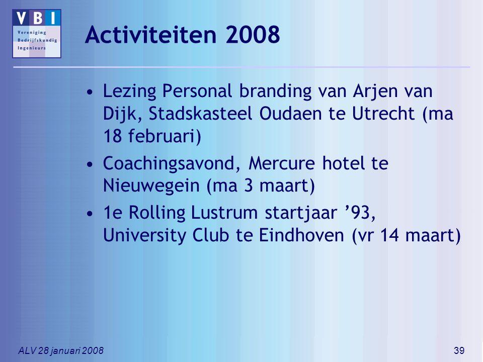 ALV 28 januari 200839 Activiteiten 2008 Lezing Personal branding van Arjen van Dijk, Stadskasteel Oudaen te Utrecht (ma 18 februari) Coachingsavond, M