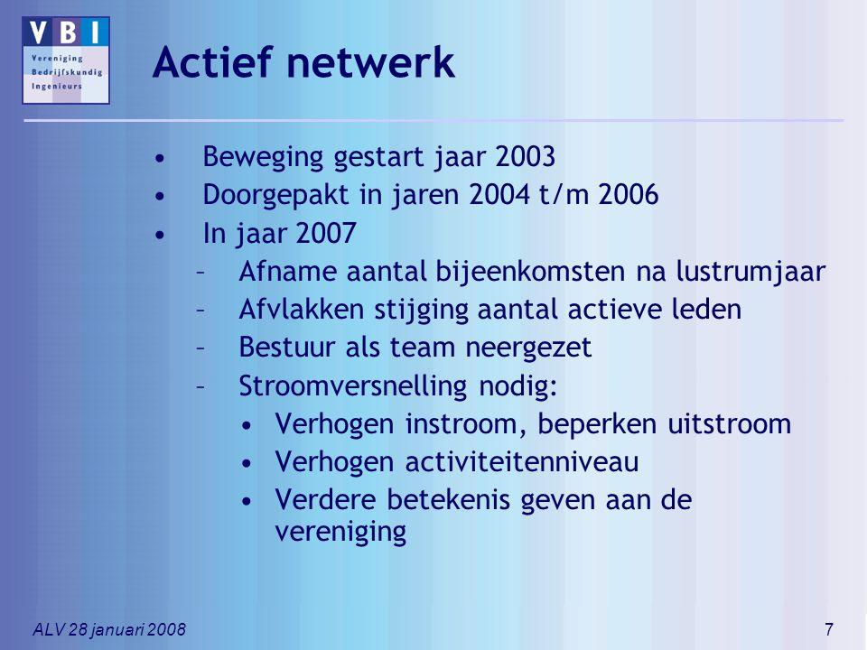 ALV 28 januari 20087 Actief netwerk Beweging gestart jaar 2003 Doorgepakt in jaren 2004 t/m 2006 In jaar 2007 –Afname aantal bijeenkomsten na lustrumj