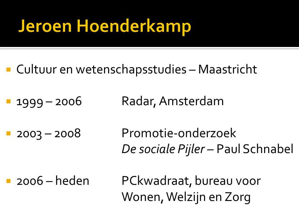 Cultuur en wetenschapsstudies – Maastricht  1999 – 2006 Radar, Amsterdam  2003 – 2008 Promotie-onderzoek De sociale Pijler – Paul Schnabel  2006 – heden PCkwadraat, bureau voor Wonen, Welzijn en Zorg